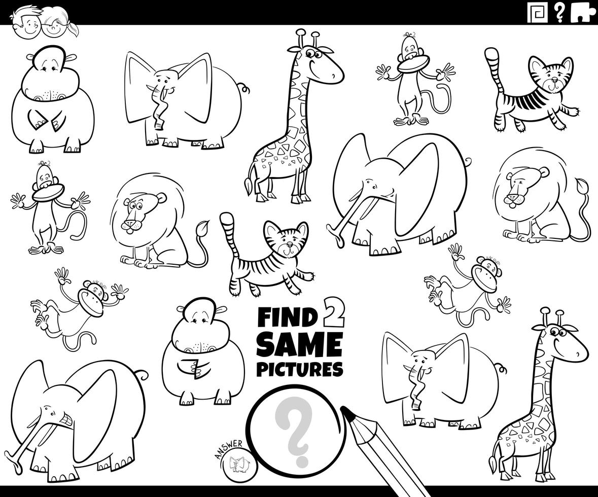 Find two same animals game coloring book page vector
