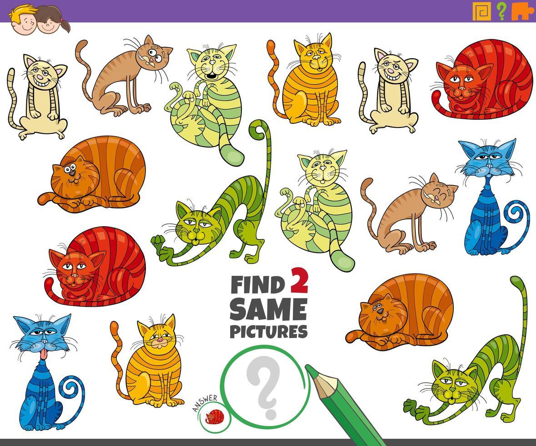 Encuentra dos mismos gatos tarea educativa para niños. vector