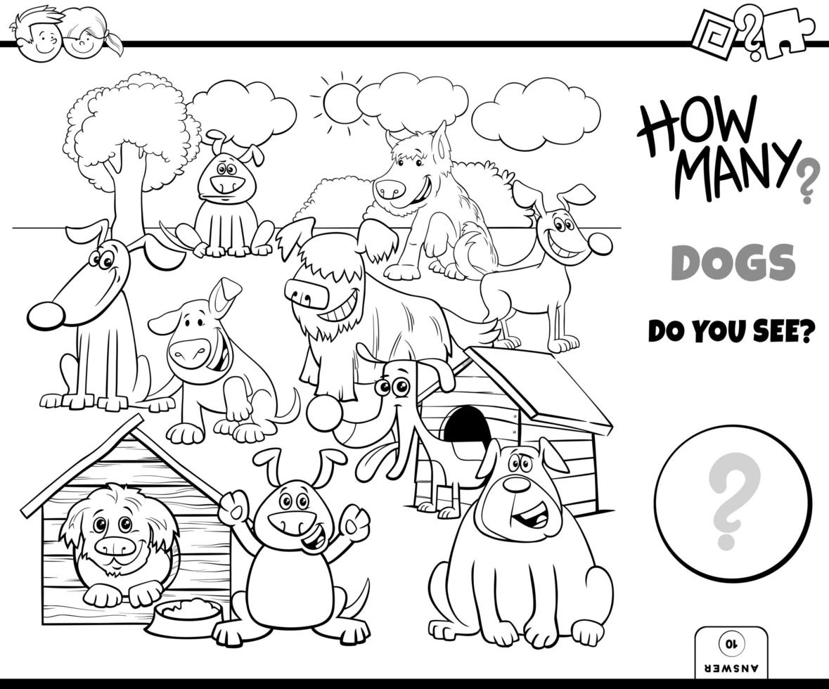 Counting dogs educational task color book vector