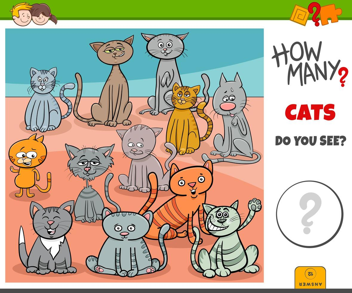 How many cats educational game for kids vector