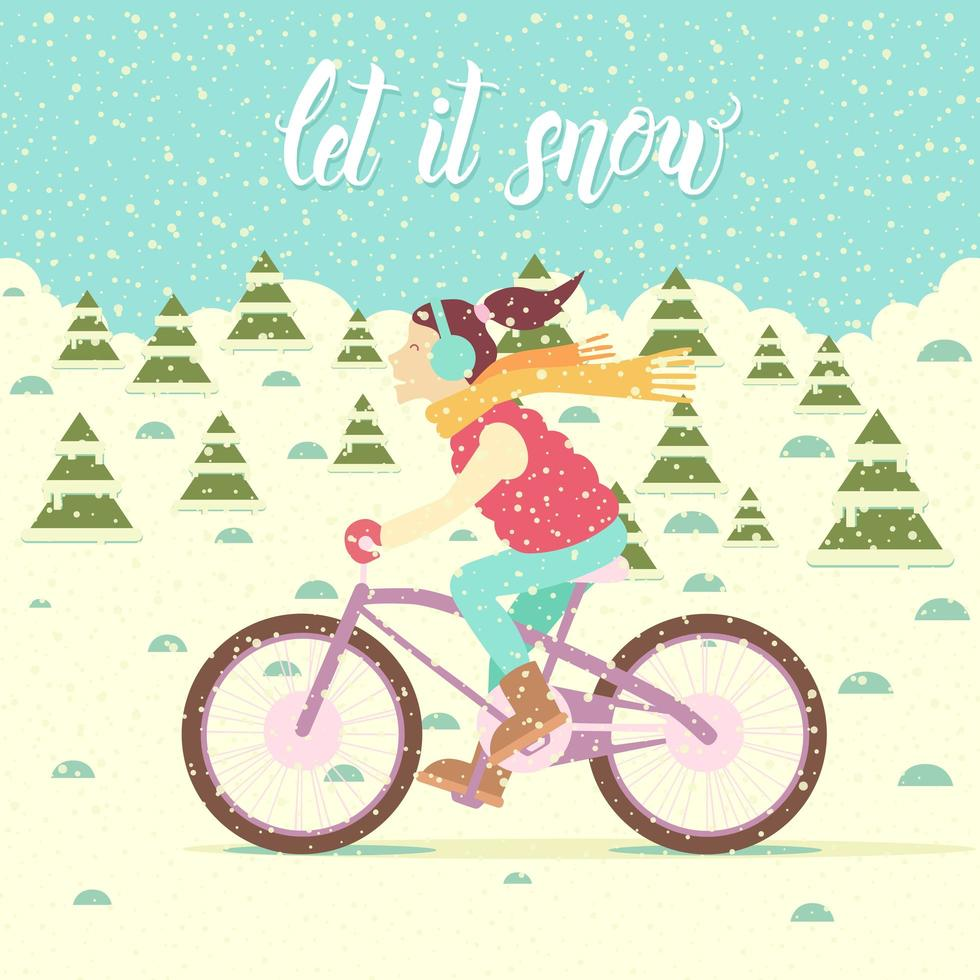 Girl in a vest and insulated headphones on a bicycle vector