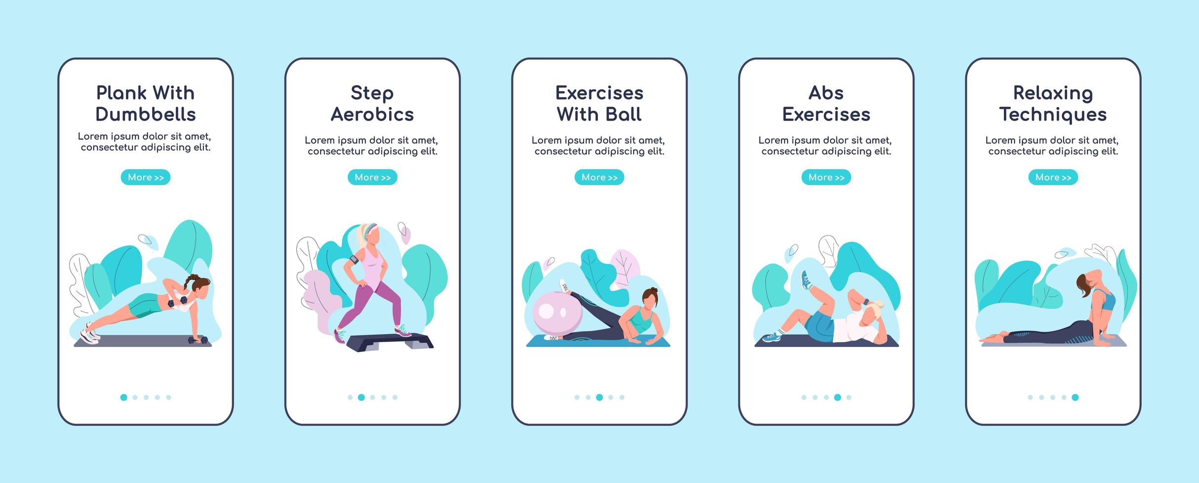 Fitness exercises onboarding mobile app screens vector