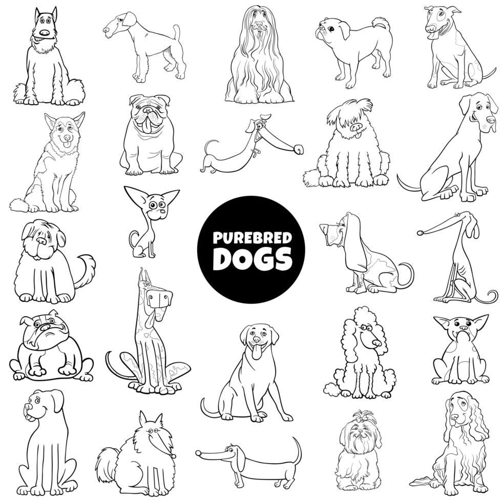 Dibujos animados de perros de raza pura establecer página de libro de color vector