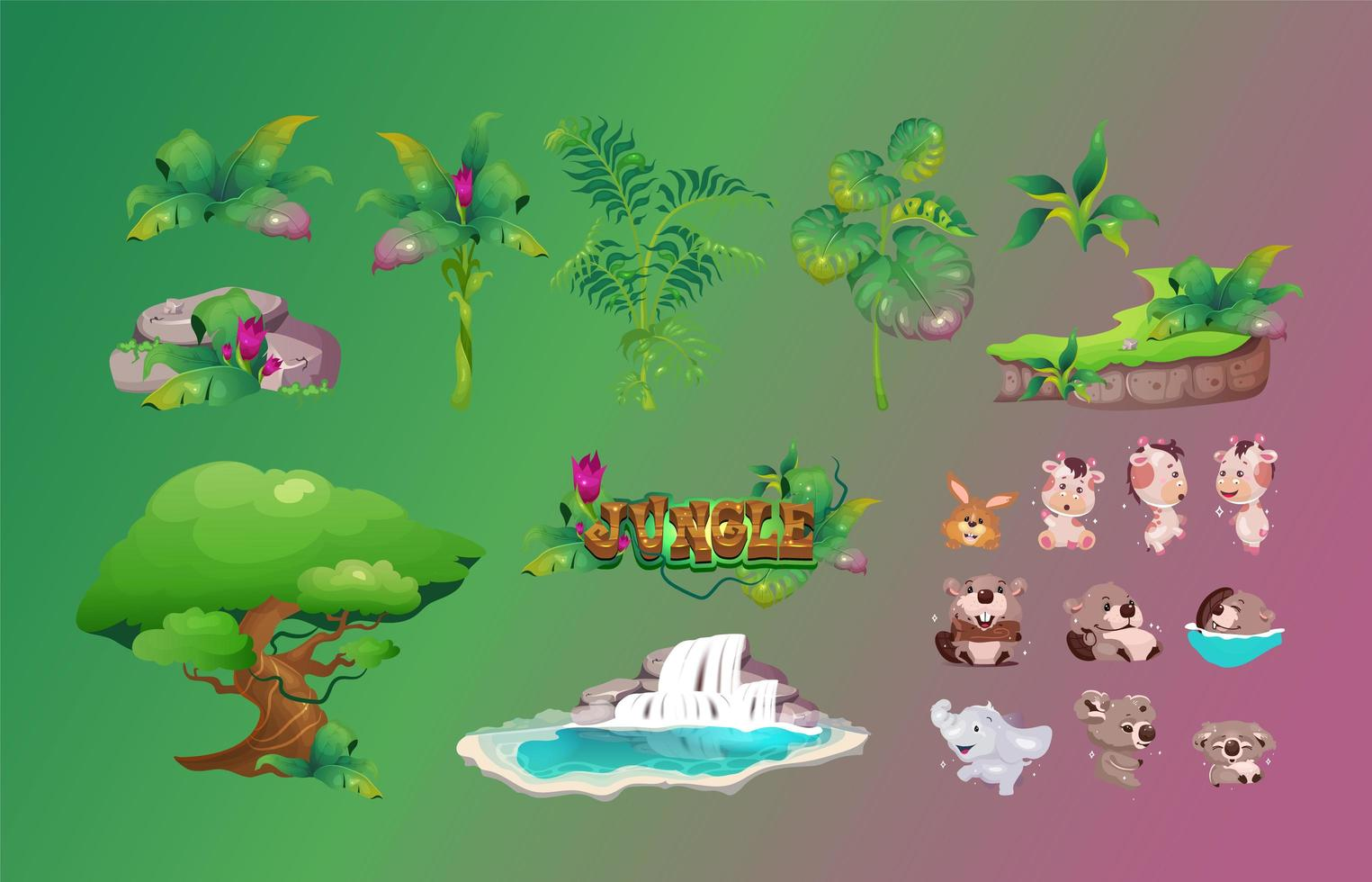 Jungle flora and fauna objects set vector