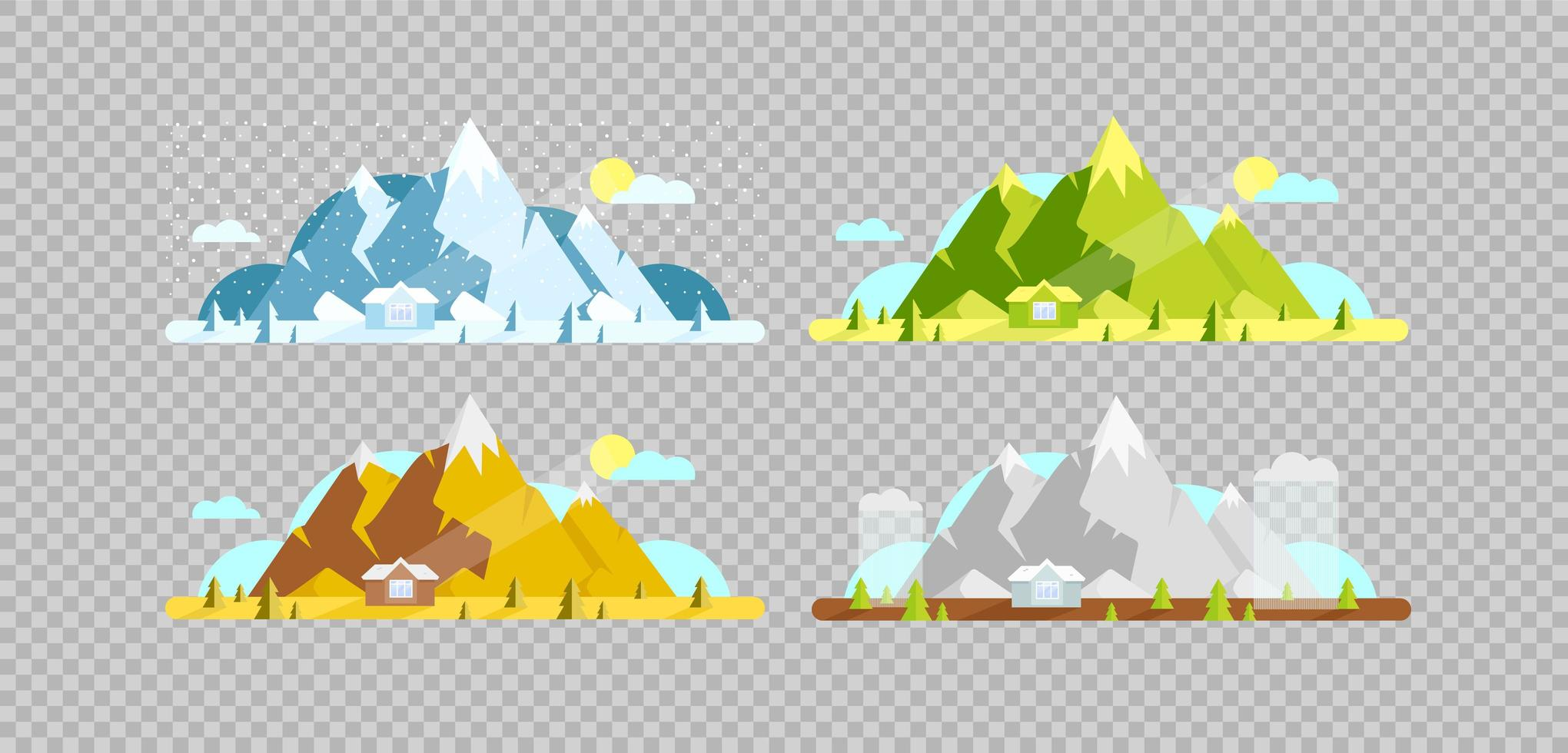 Mountain and house objects set vector