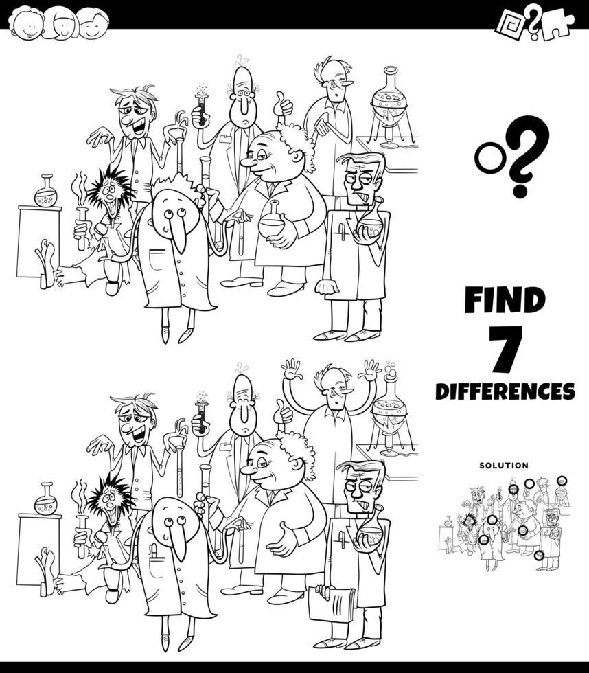 Diferencias para colorear juego con científicos de dibujos animados vector