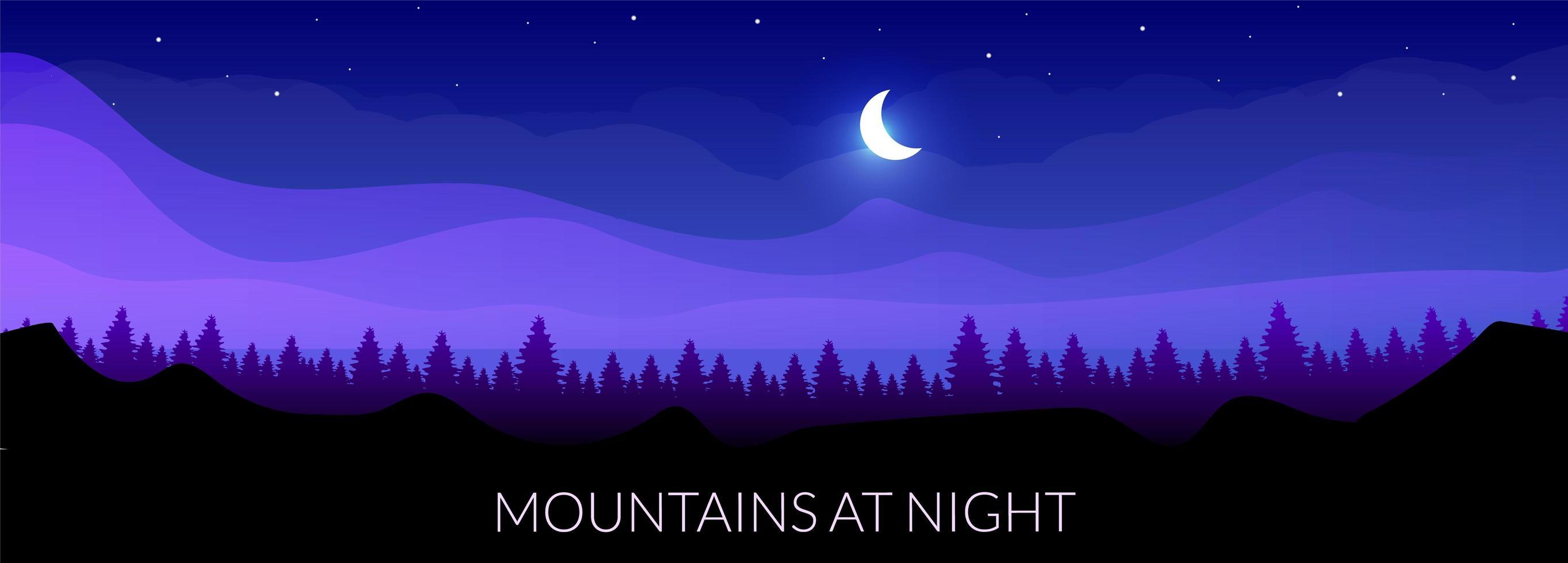 montañas de noche vector