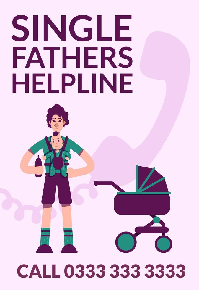 Single fathers helpline poster vector