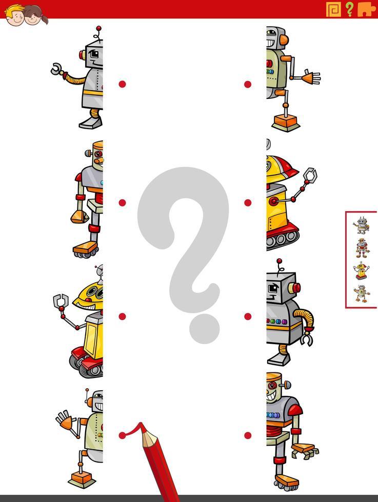 Combina mitades de imágenes con un juego educativo de robots. vector