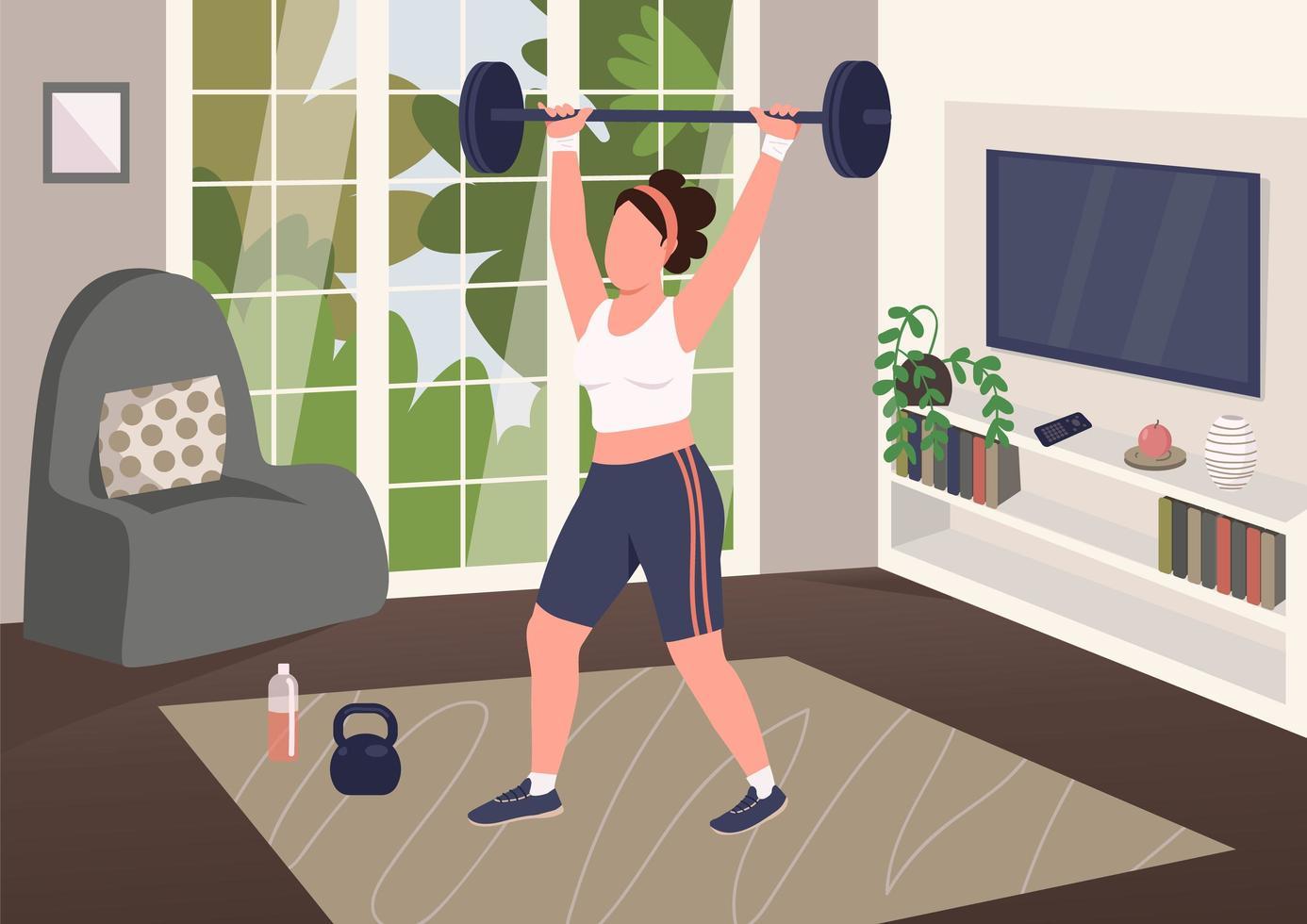 levantamiento de pesas en casa vector