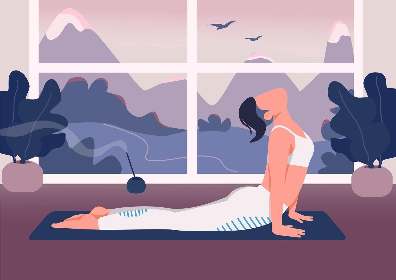 yoga en casa vector