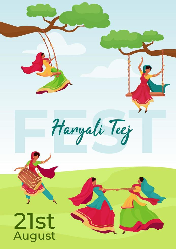 Hariyali Teej fest poster vector