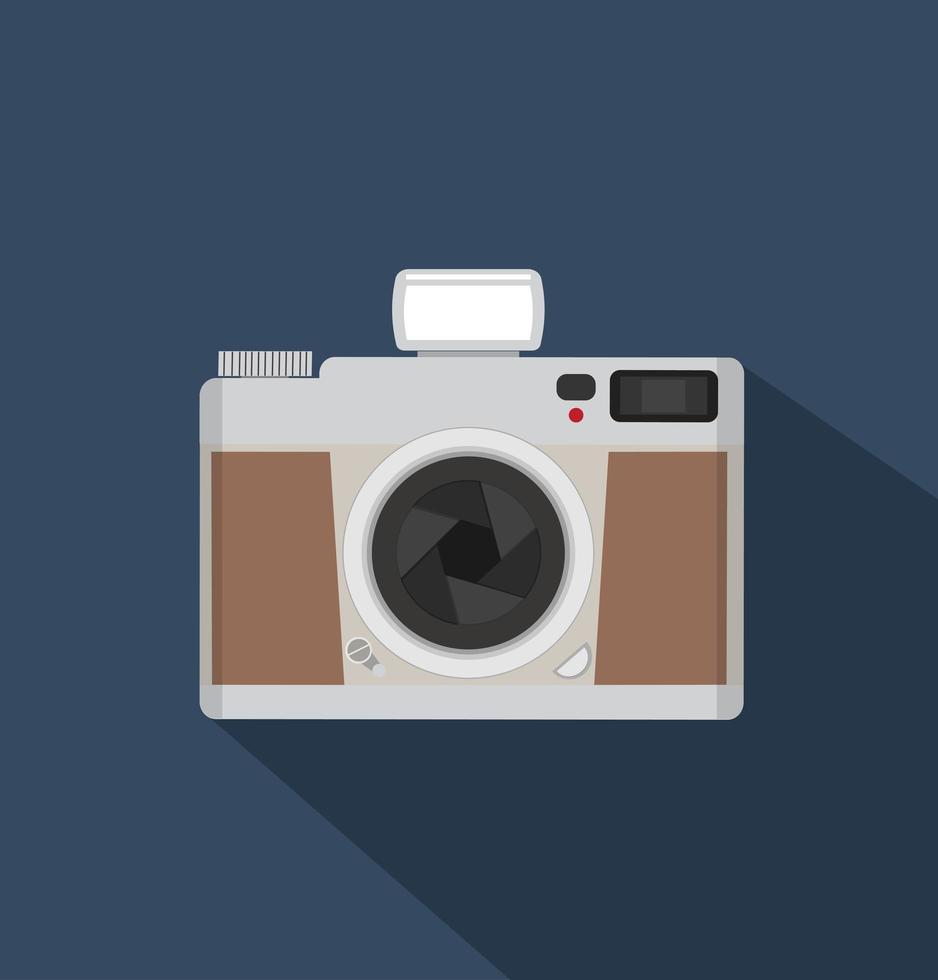 cámara vintage de estilo plano con largas sombras vector