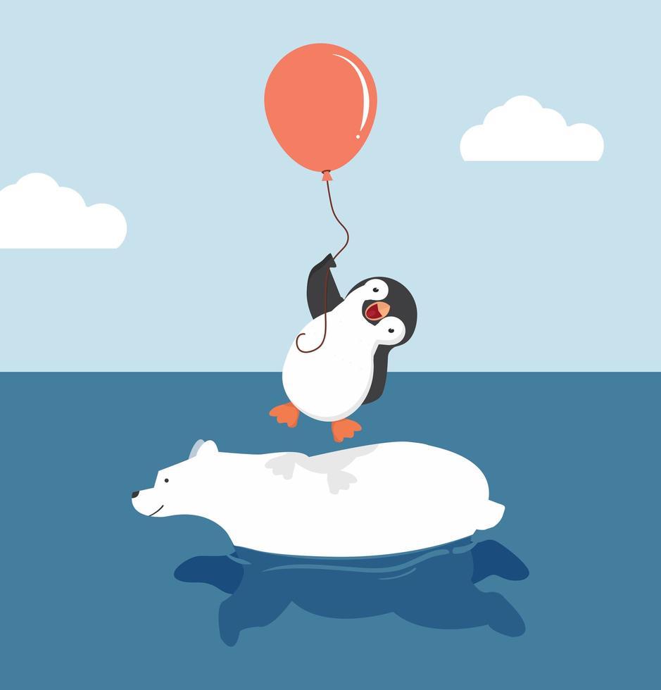 lindo oso polar nadando con pingüino sosteniendo globo vector