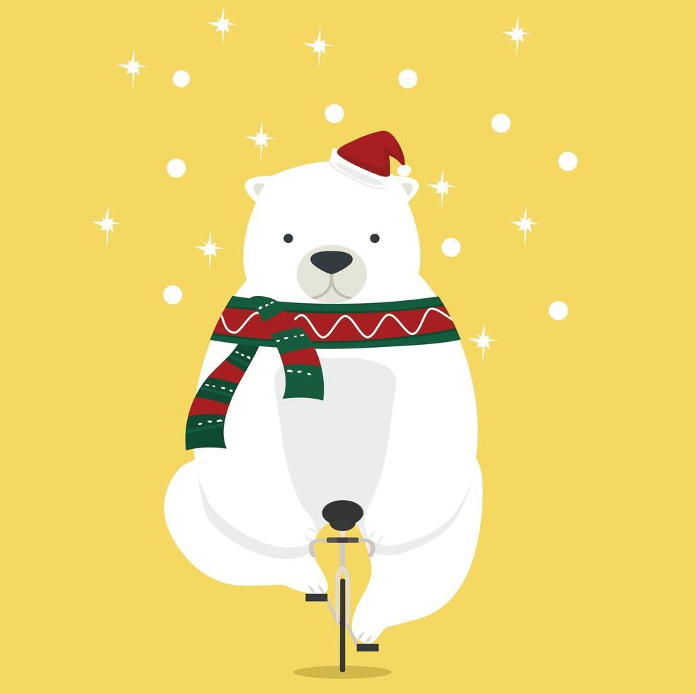 oso polar con gorro de santa andar en bicicleta vector