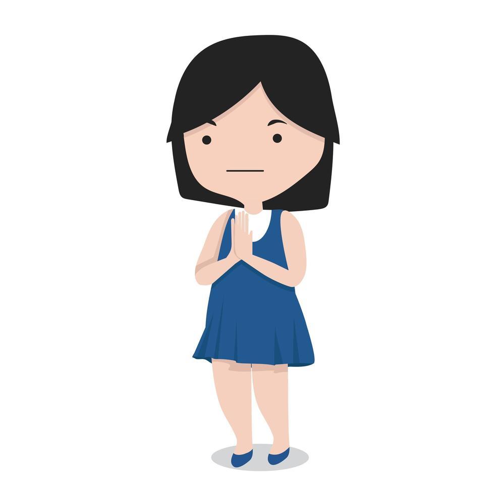 small girl greeting cartoon vector