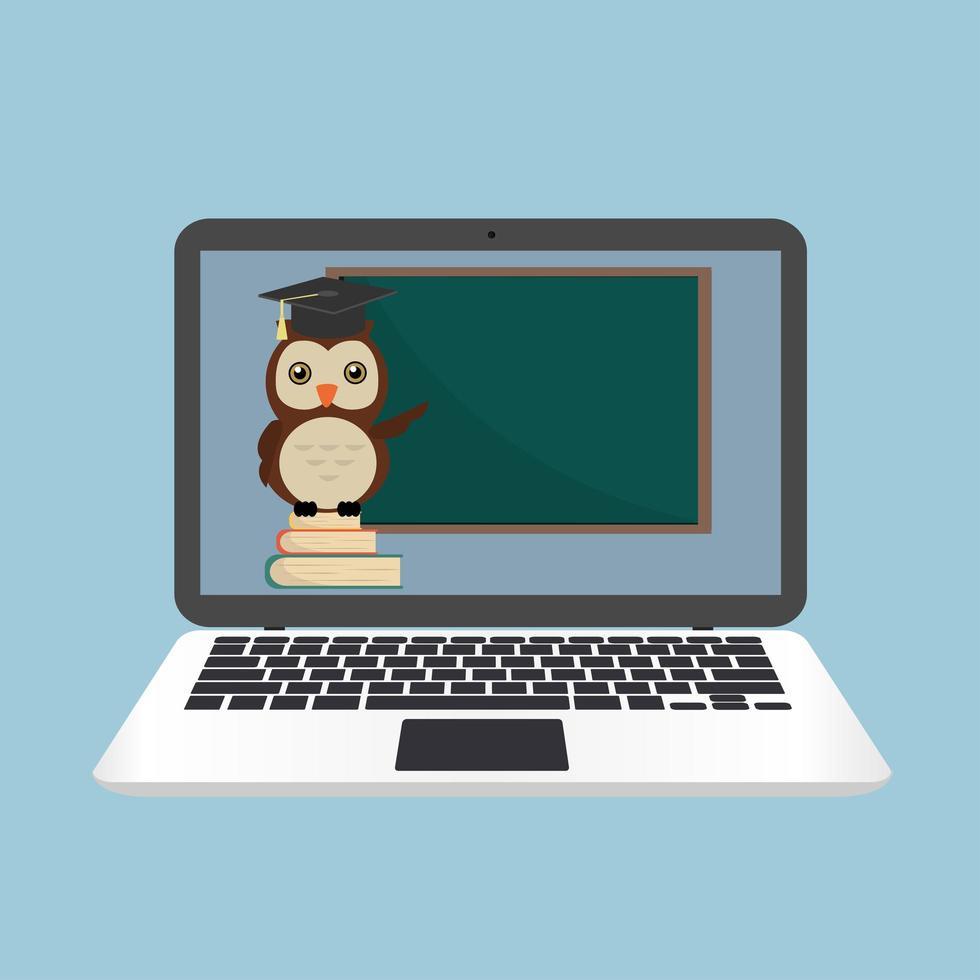 concepto de computadora portátil de e-learning con búho en la pila de libros vector