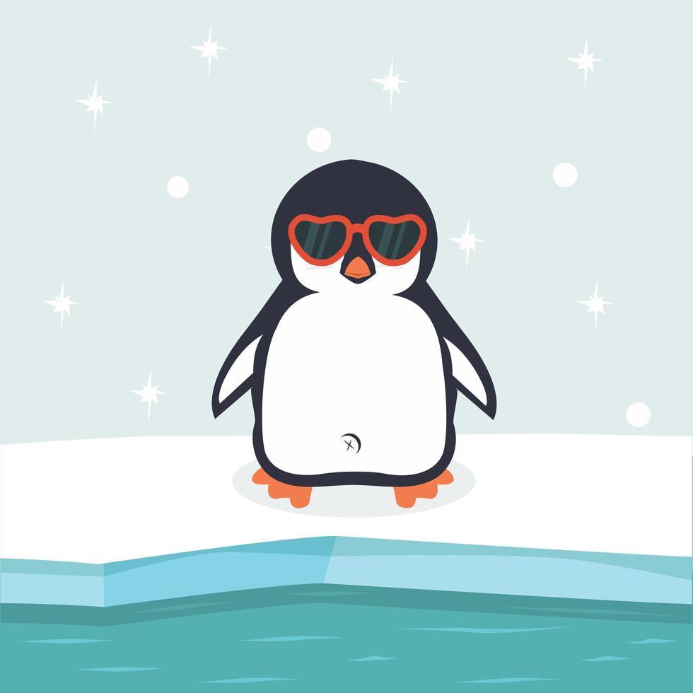 polo norte ártico con pingüino vector