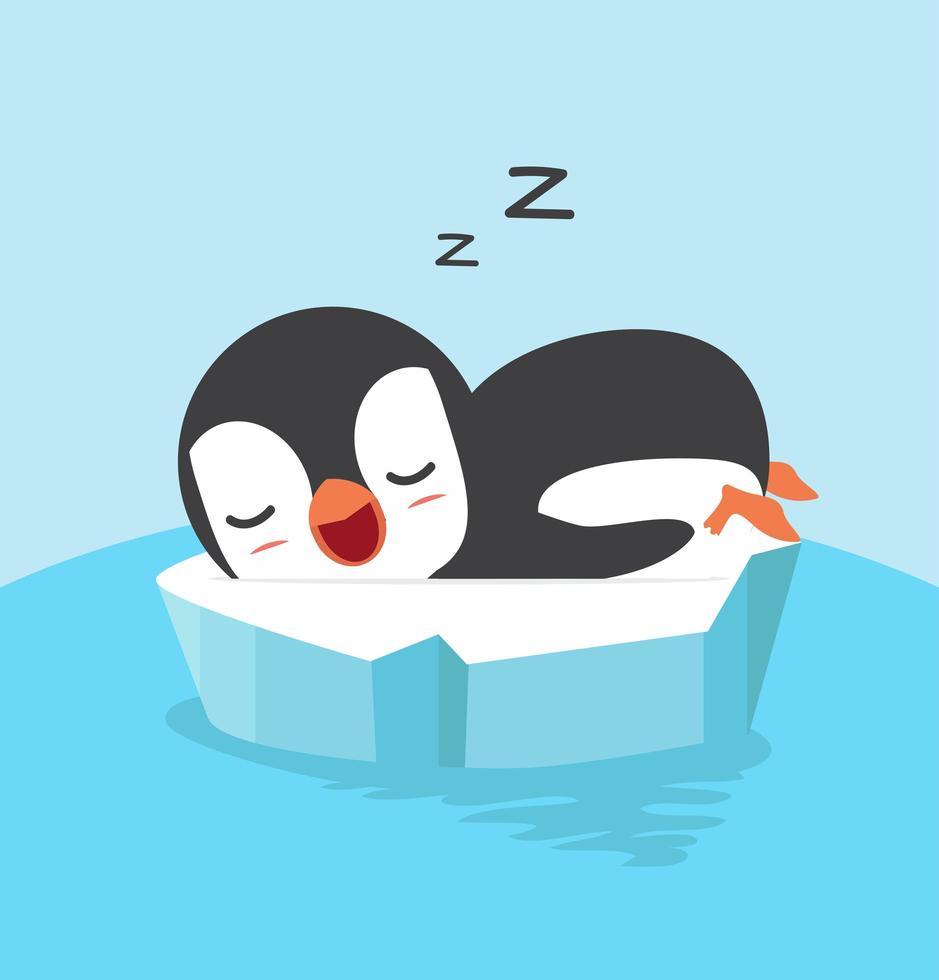 lindo pingüino duerme en témpano de hielo vector