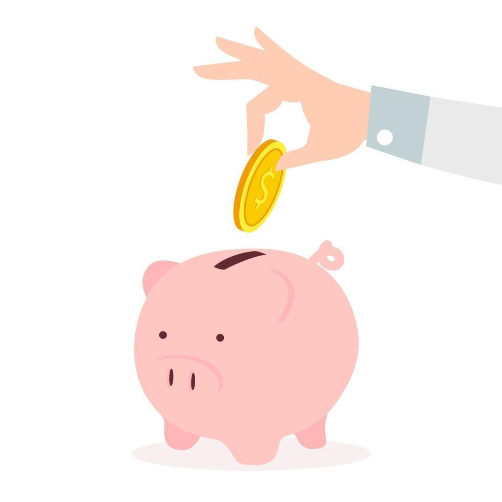 Mano poniendo monedas un concepto de ahorro de hucha vector