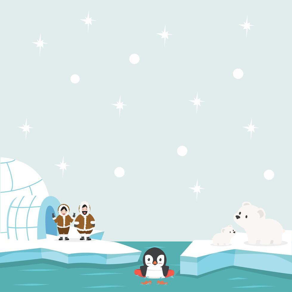 polo norte ártico en el fondo del océano vector