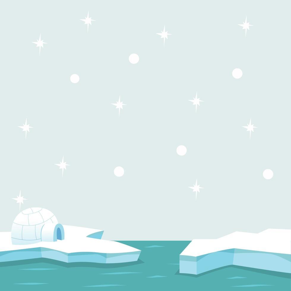 polo norte ártico en el océano vector