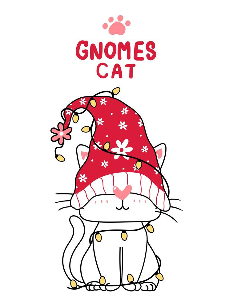 Cute dibujos animados de gato gnomo con luces de navidad vector