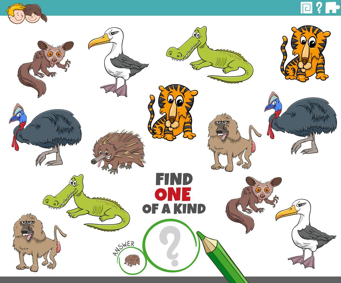 one of a kind game for children with wild animals vector