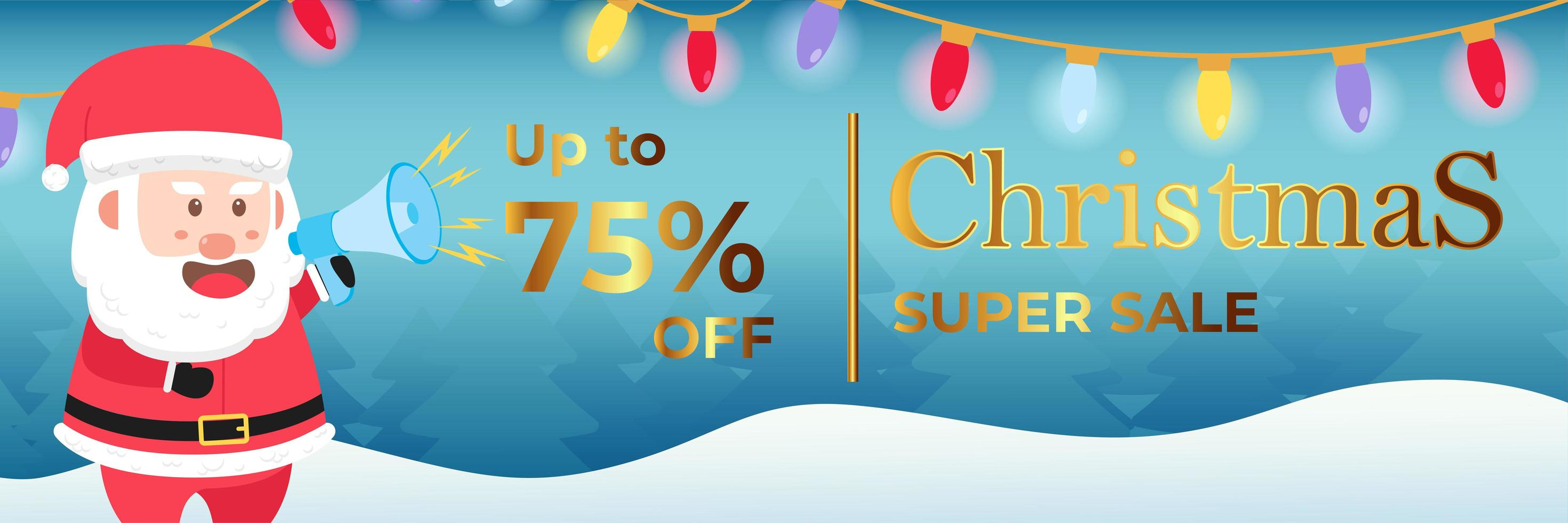 Christmas Banner Super Sale Up To 75 percent vector