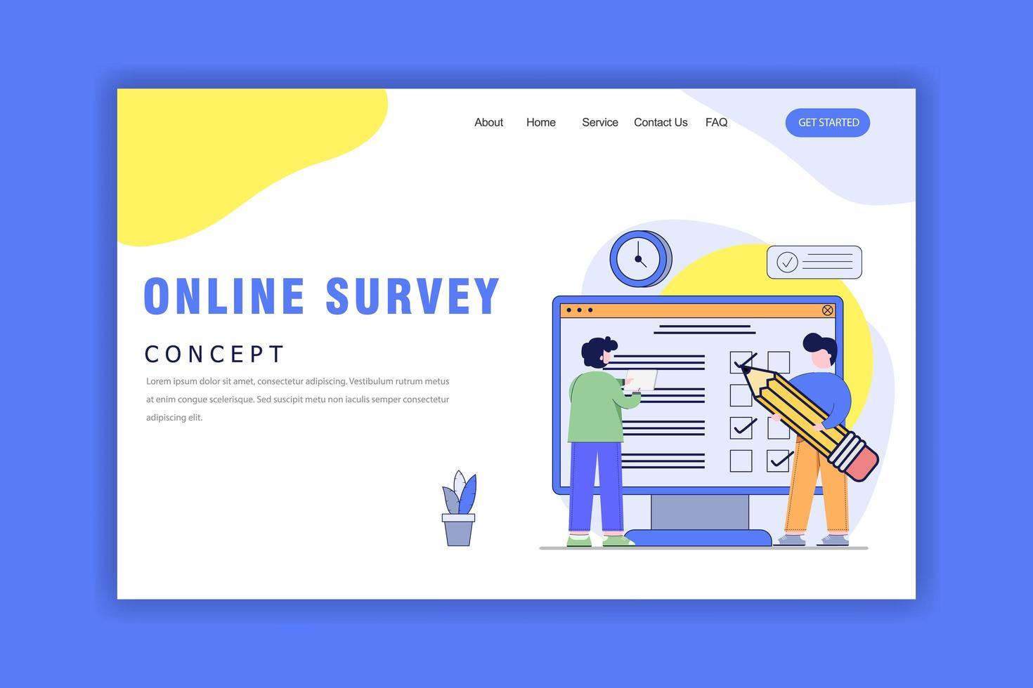 concepto de diseño plano de encuesta en línea vector