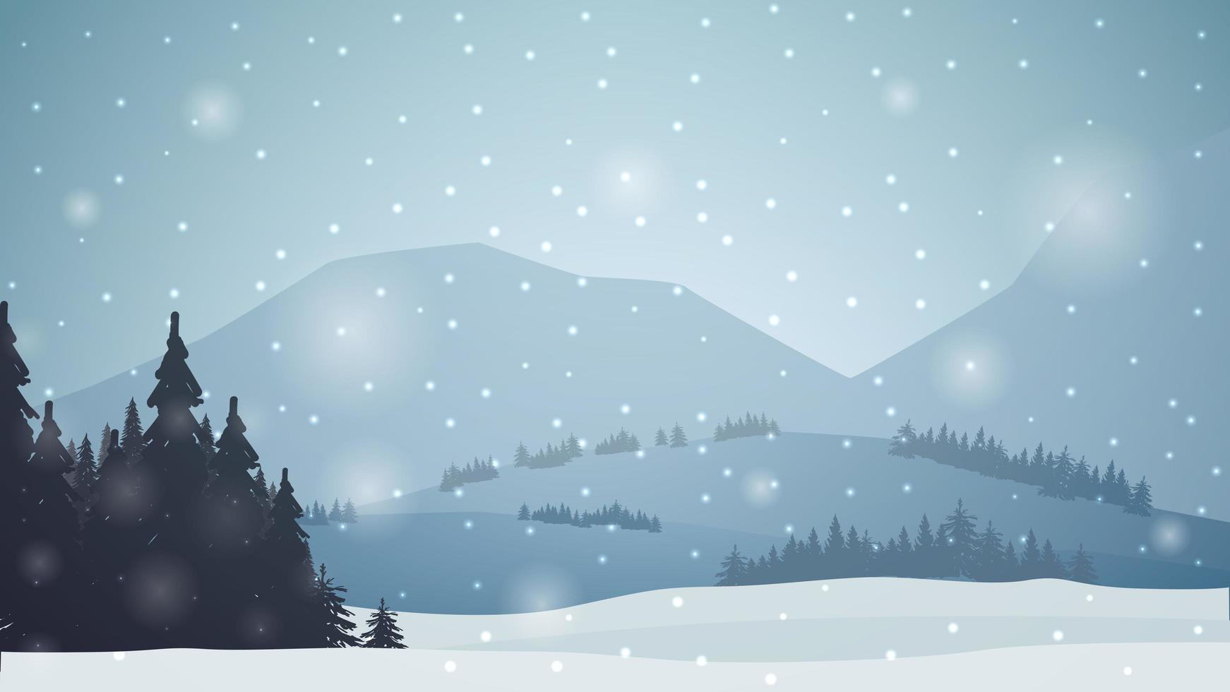 Winter landscape with mountains, pines, forest, snow falling. vector