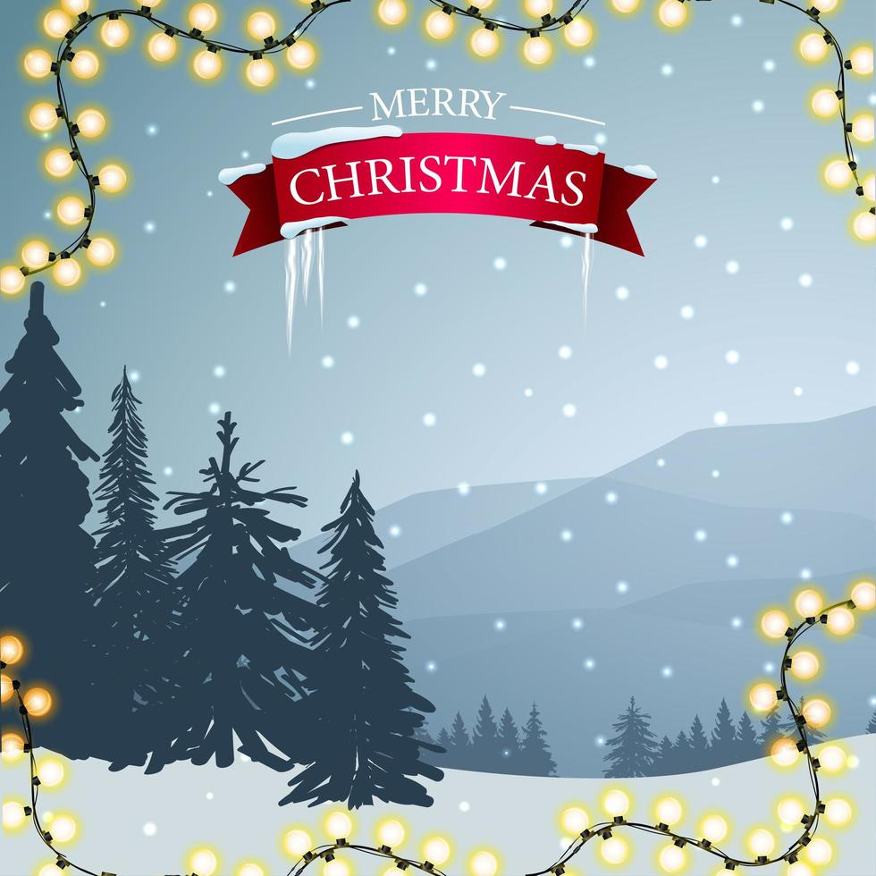 Merry Christmas postcard with greeting sign vector