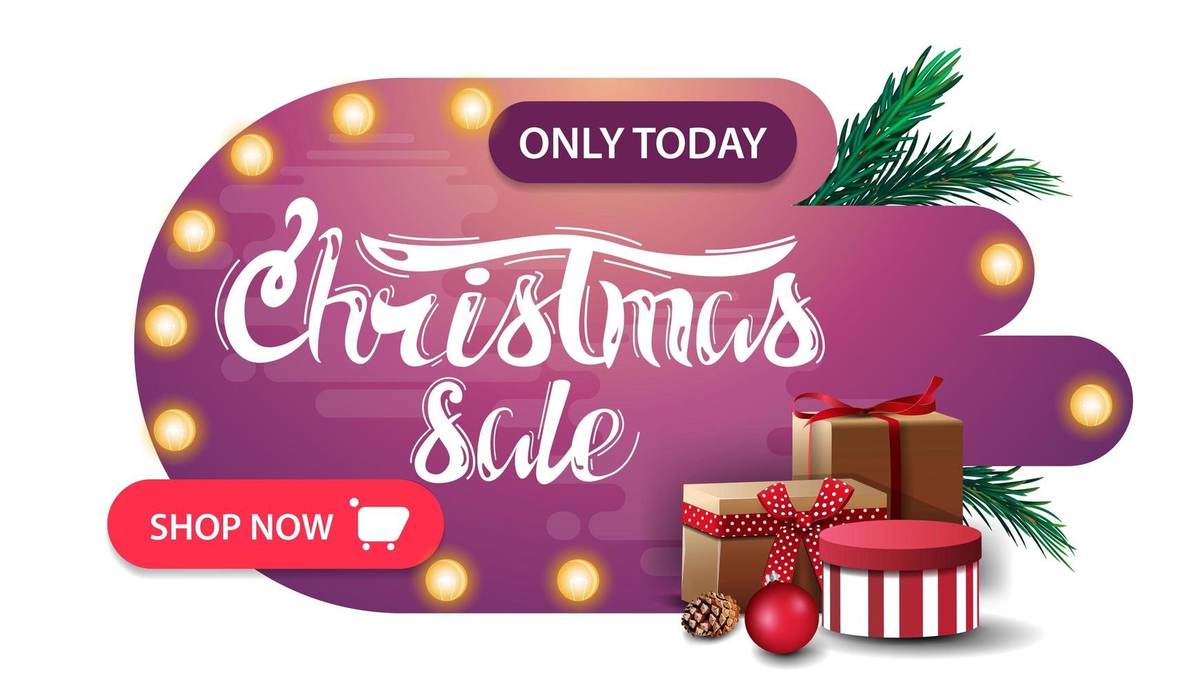 Pink discount banner in abstract shapes vector