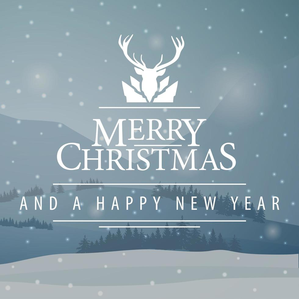 Gray square Christmas postcard with winter landscape vector