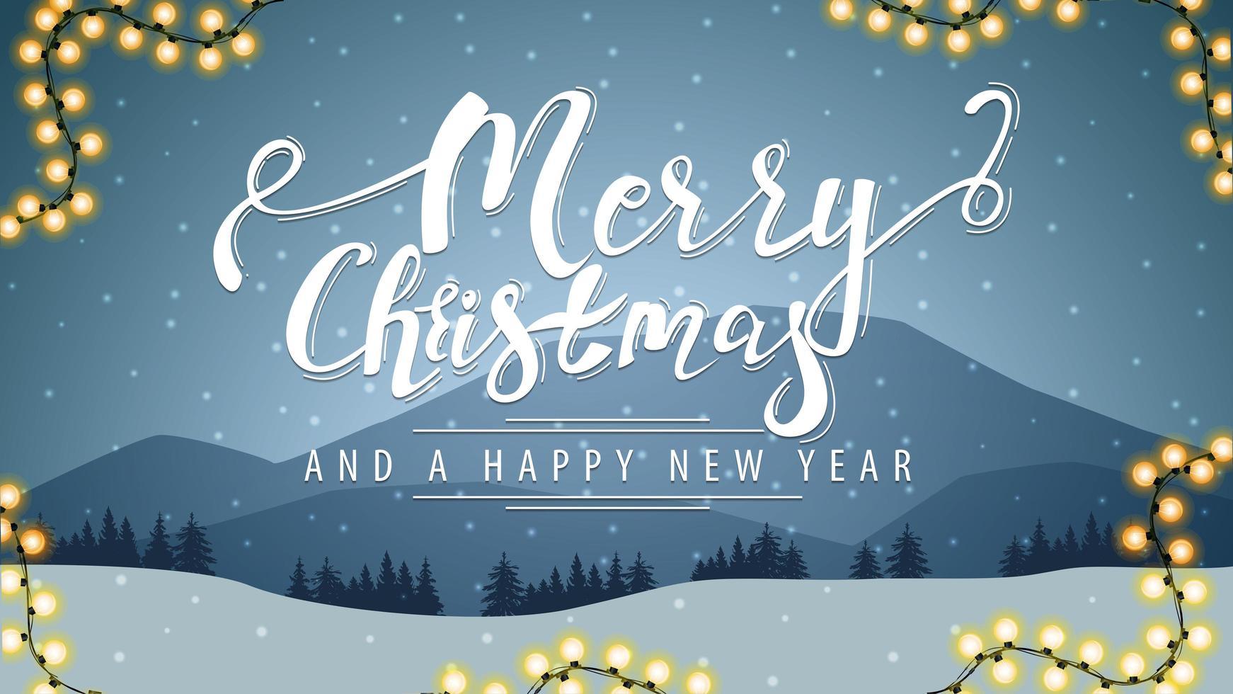 feliz navidad y próspero año nuevo postal vector