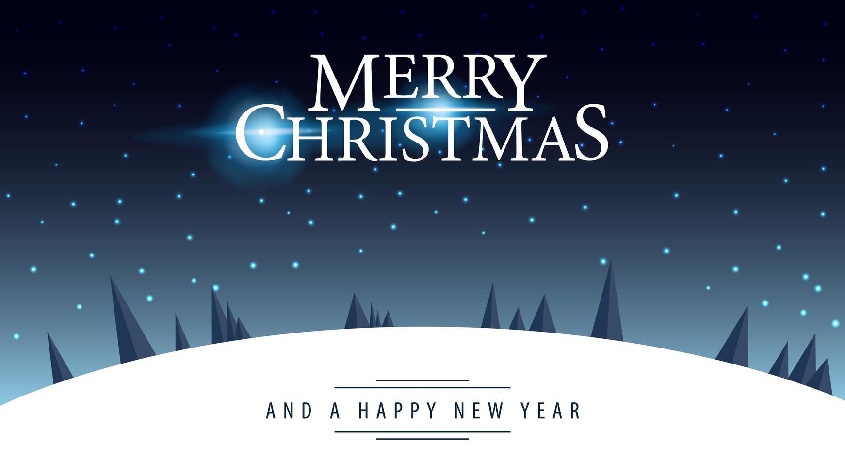 postal con logotipo de saludo y paisaje nocturno de invierno vector