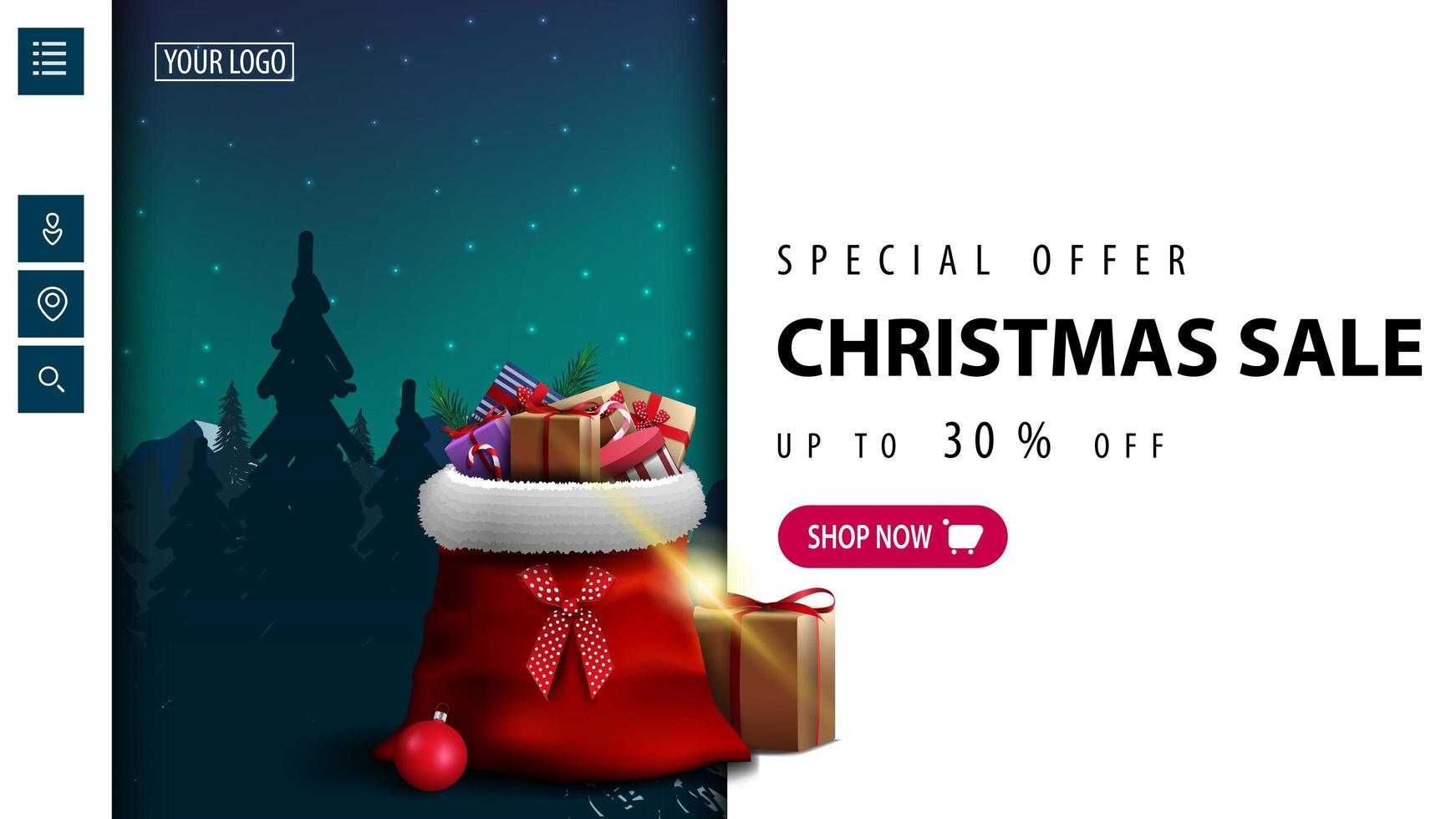 White discount banner for website with pink button vector