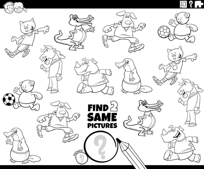 Encuentra dos mismos personajes de animales. vector