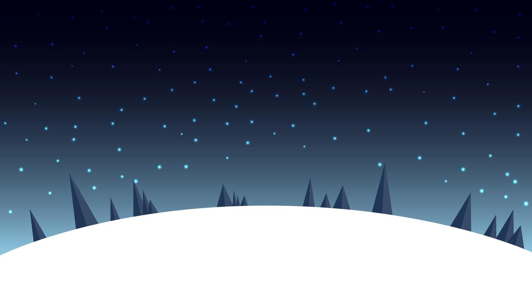 Cartoon night winter landscape with starry sky vector