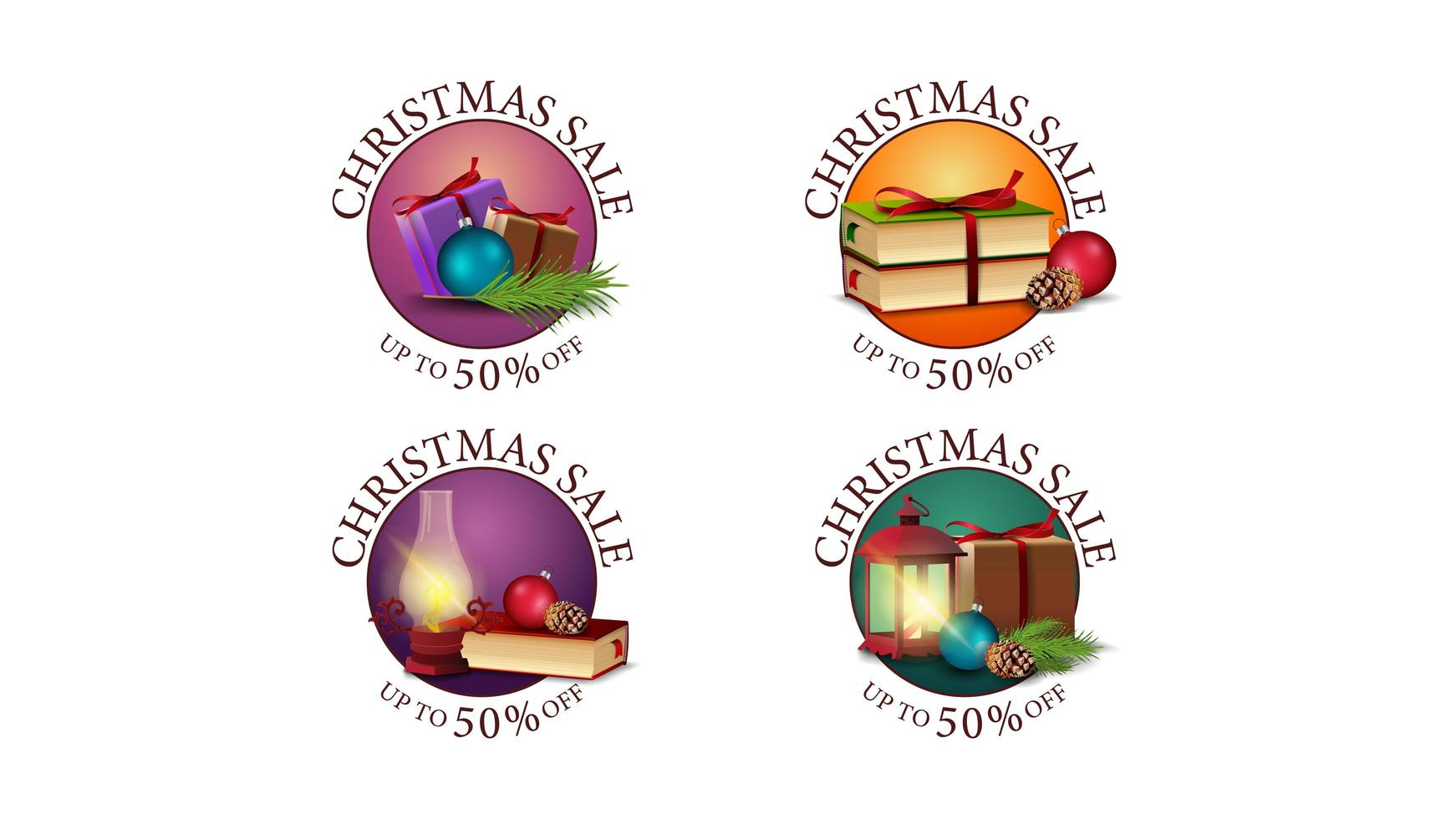 Set of Christmas sales round banners vector