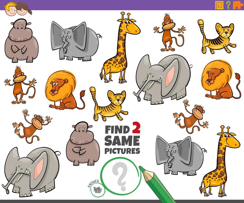 Encuentra dos mismos personajes de animales para niños. vector