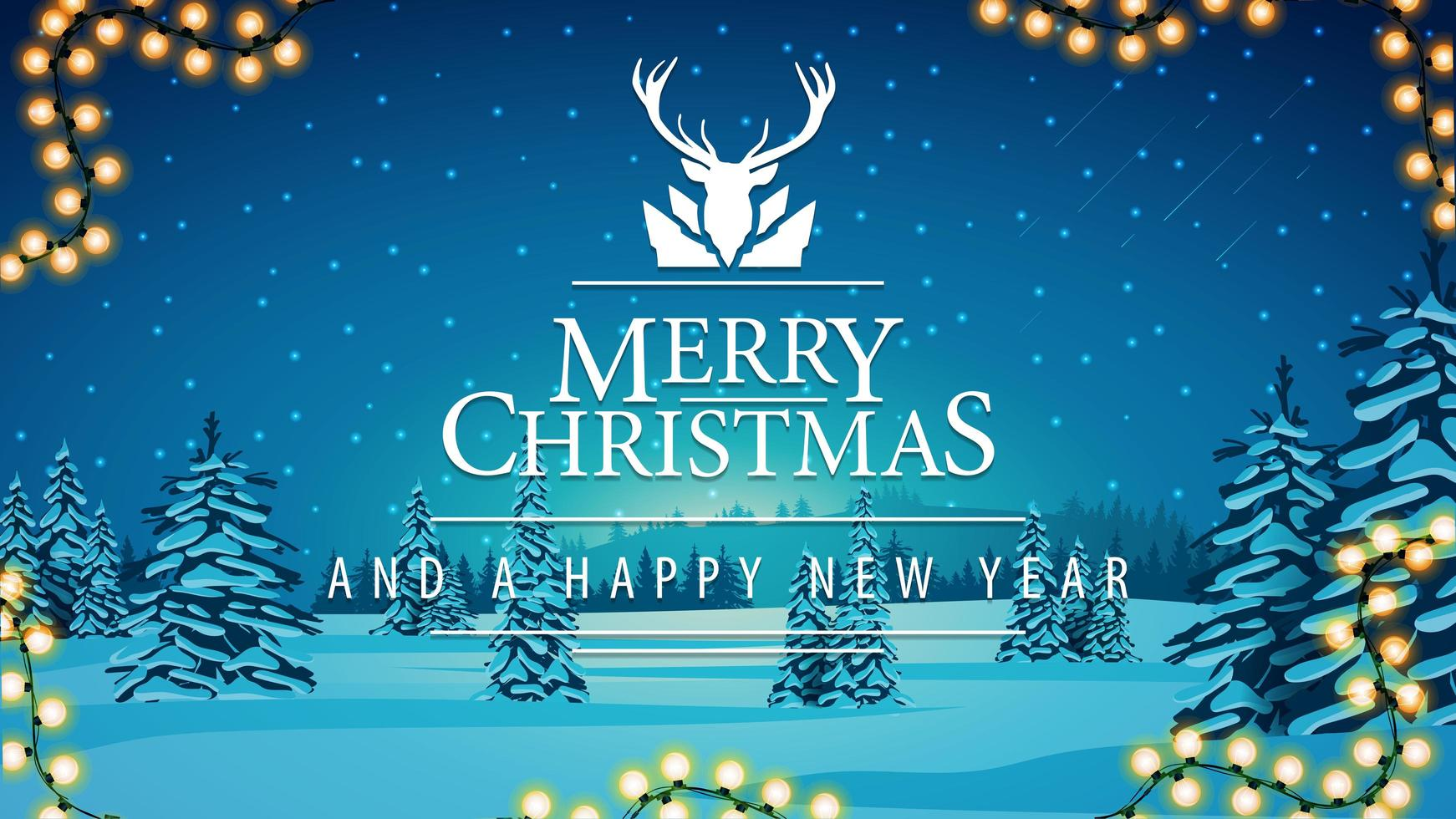 Merry Christmas and happy New Year greeting postcard vector
