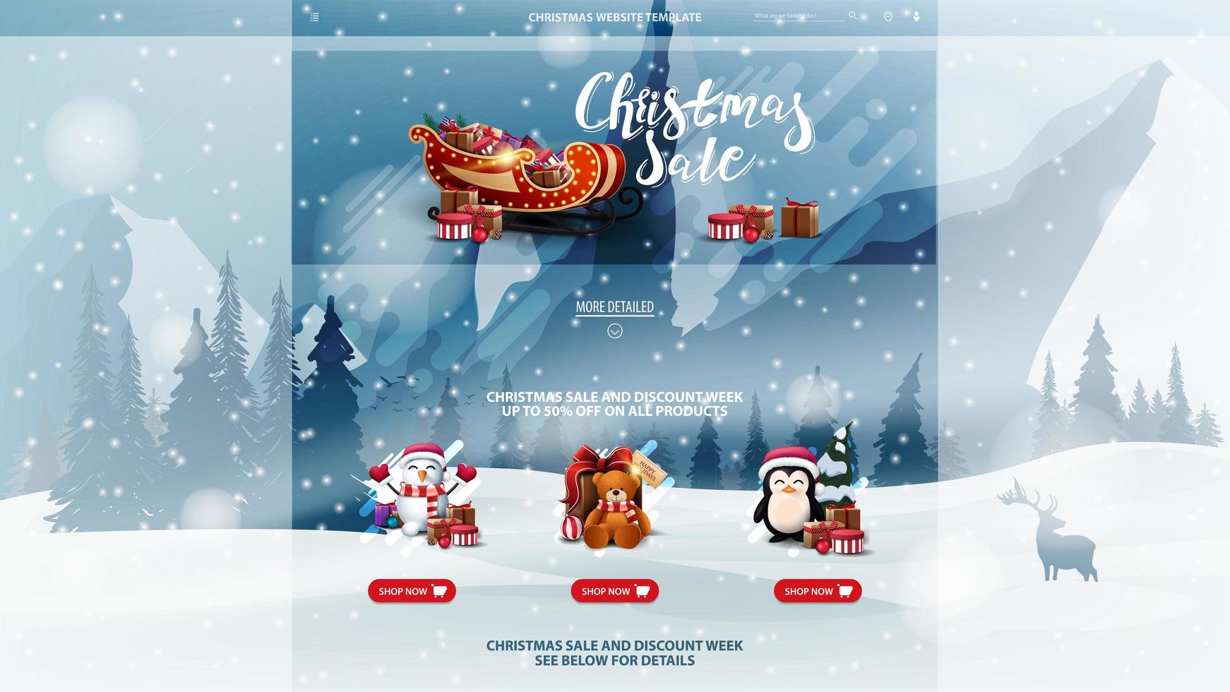 Christmas website template with winter landscape vector
