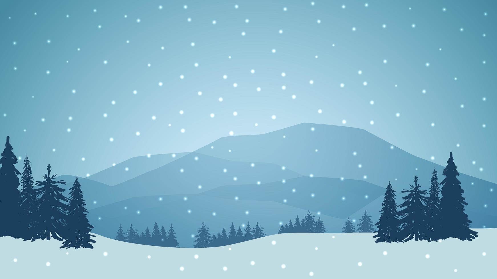 Winter landscape with mountains on the horizon vector