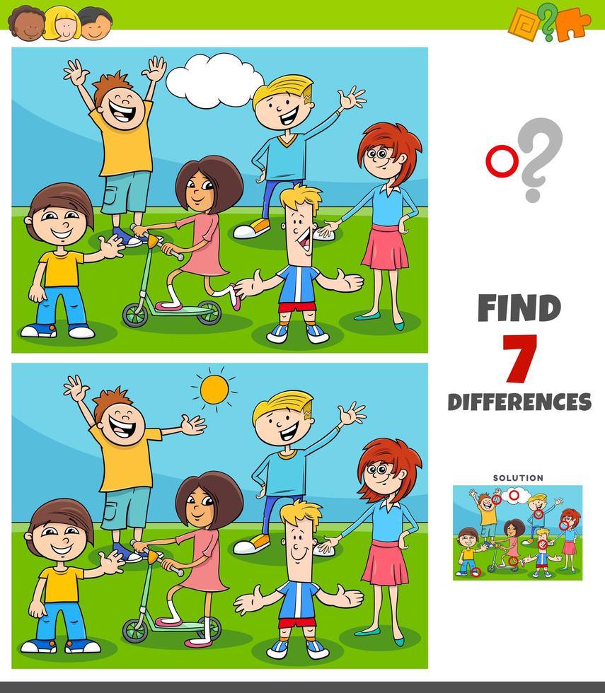 Juego de diferencias con grupo de niños y adolescentes. vector