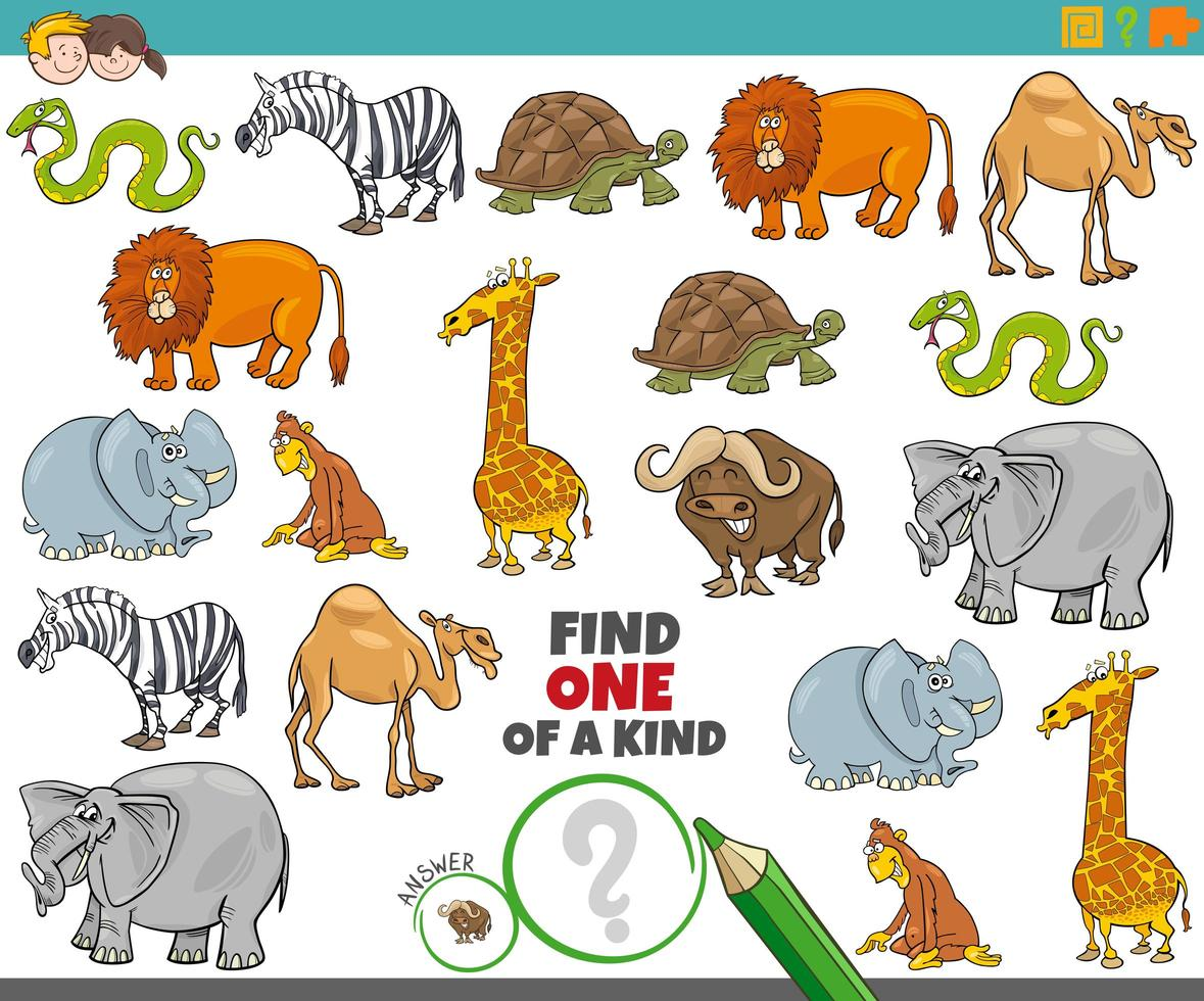 One of a kind game for kids with animals vector