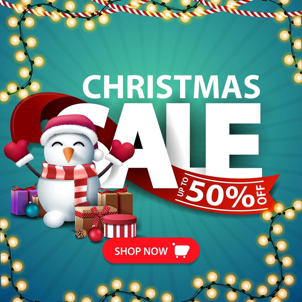 Christmas sale, square discount banner vector