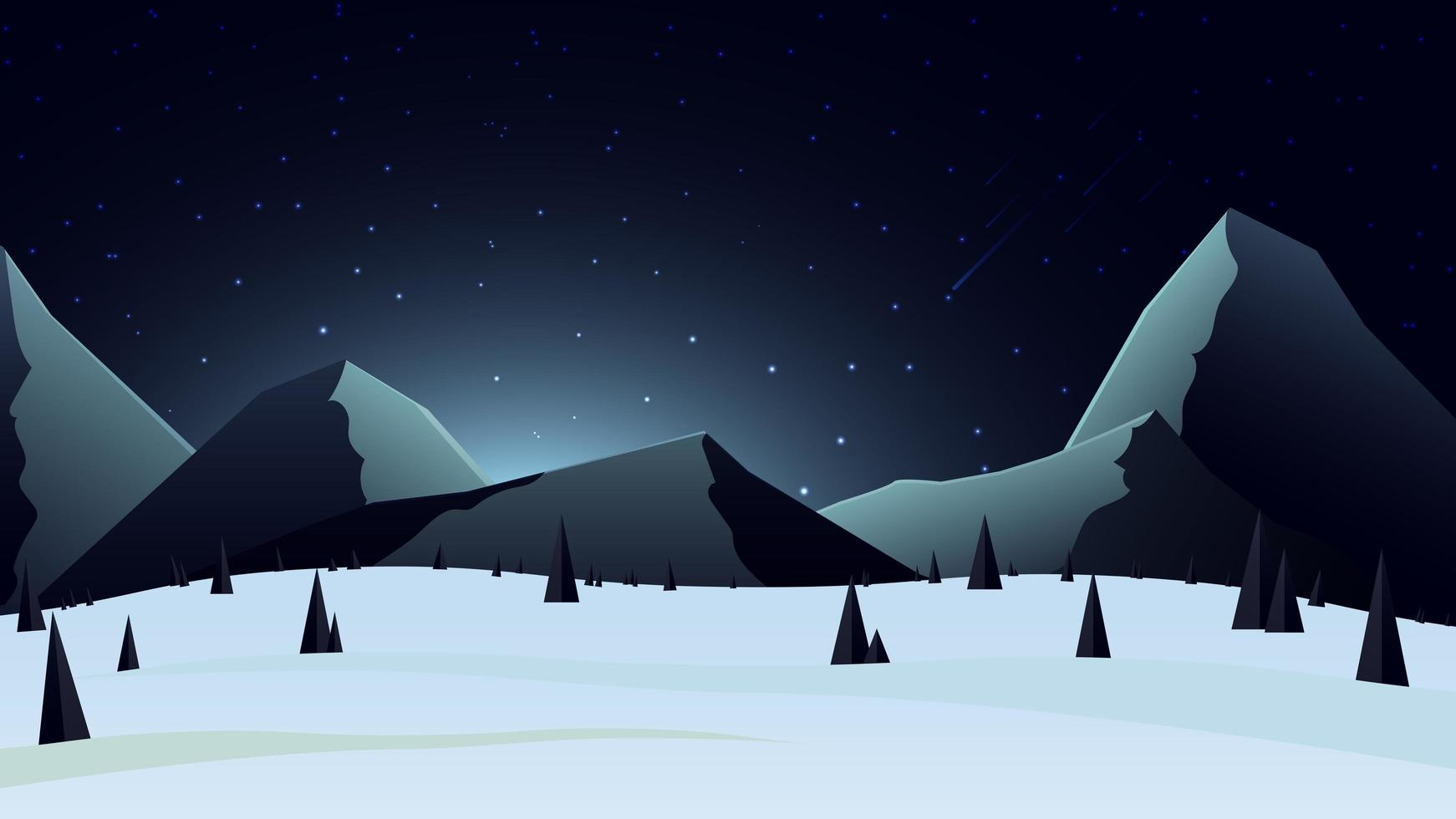 Winter landscape with snowy mountains on the horizon vector