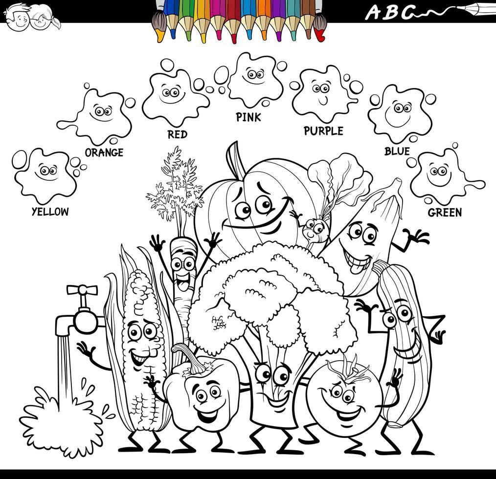 Libro de colores de colores básicos con personajes de verduras. vector