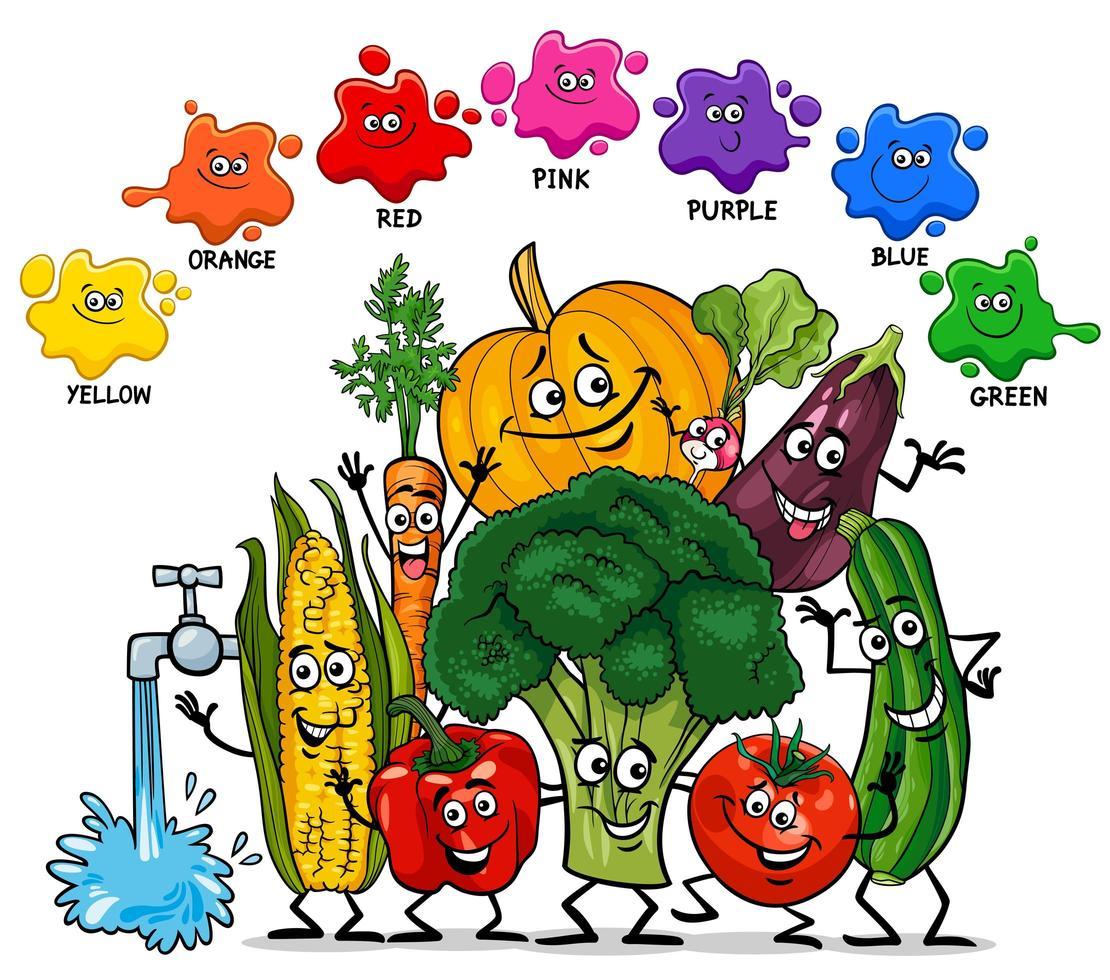 colores básicos con grupo de personajes vegetales. vector